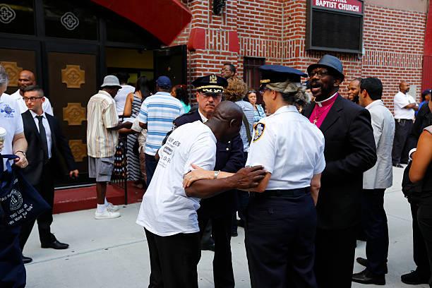 NYPD Community Affairs brass stock photo