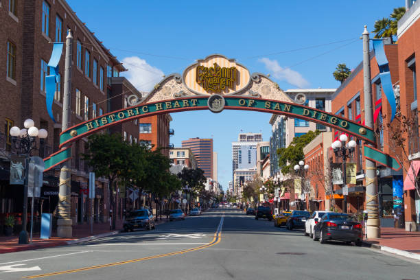 Community Archway for Gaslamp District in San Diego stock photo