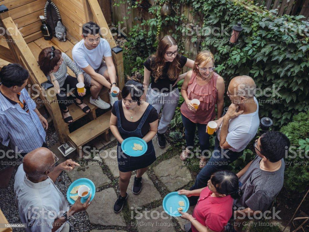Community Backyard Party stock photo