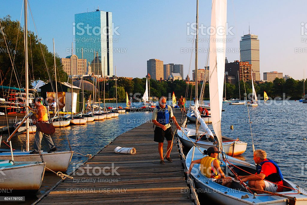 Community Boating, Boston stock photo