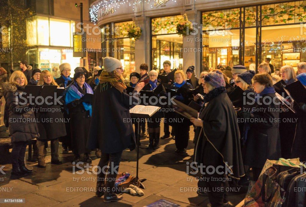 Community choir singing at Christmas in York stock photo