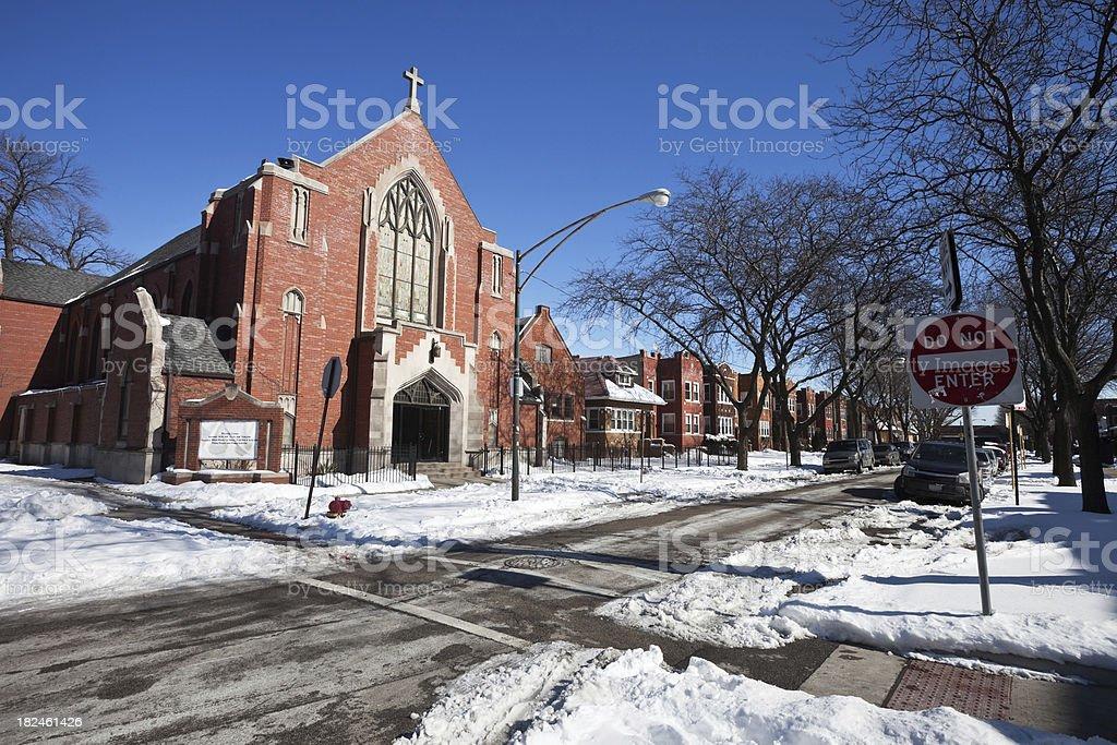 Community Church in Hermosa, Chicago royalty-free stock photo