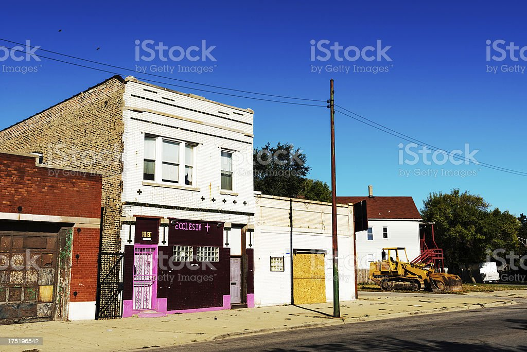 Community Church in Repurposed Building, South Chicago royalty-free stock photo