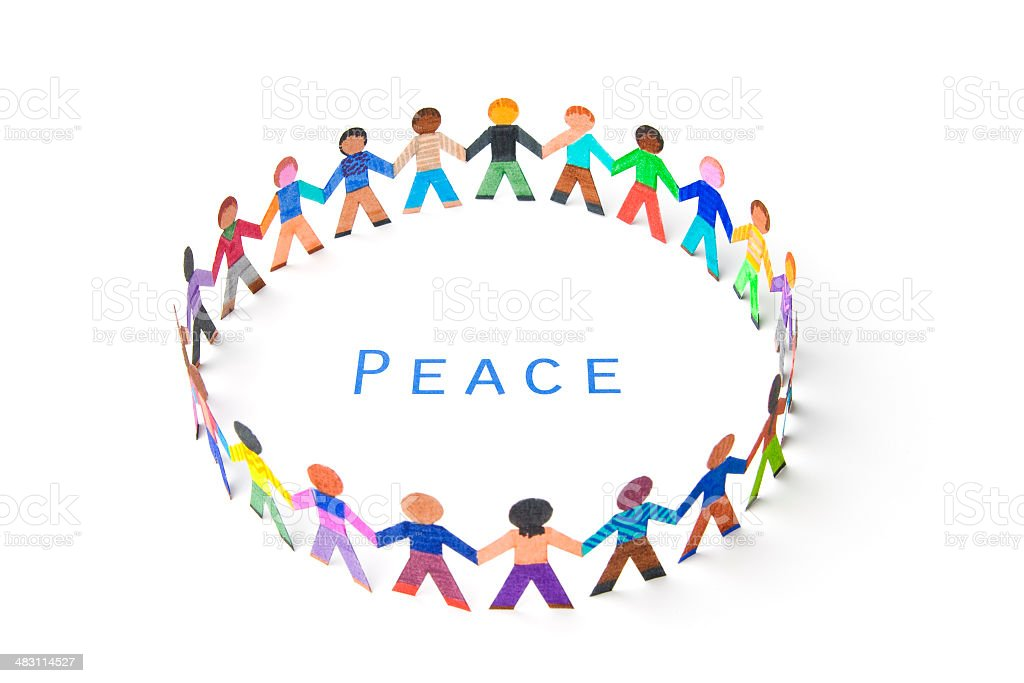 Community circle around the word peace royalty-free stock photo
