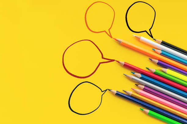 community communication, represents people conference, social media interaction & engagement. group of pencils sharing idea on the yellow background with copy space - employee engagement stock photos and pictures