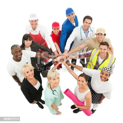 514325215 istock photo Community - Different Occupations Stacking Hands Representing Unity 180807514
