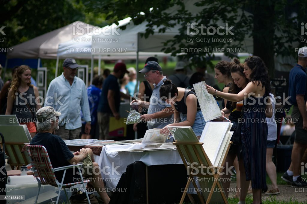 Community Festival in Public Park, in West Philadelphia stock photo