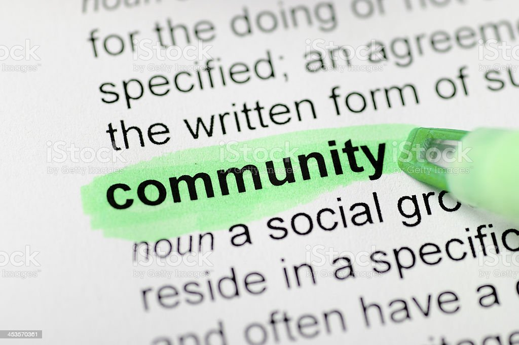 Community highlighted in dictionary royalty-free stock photo