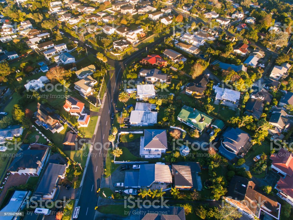 Community houses in Auckland, New Zealand. stock photo