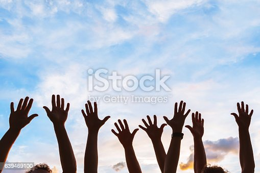 istock community initiative or volunteering concept, hands of group of people 639469100