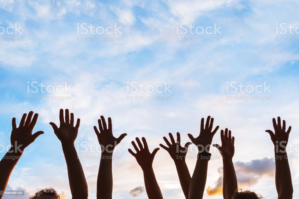 community initiative or volunteering concept, hands of group of people stock photo