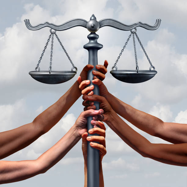 Community Justice And Law Community lawyer services and law and immigration or refugee legislation and legal status as a group of people holding up a justice scale together with 3D illustration elements. social justice concept stock pictures, royalty-free photos & images