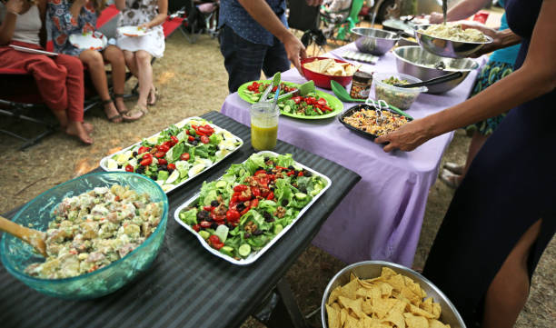Community Lunch in British Columbia, Canada in Summer stock photo