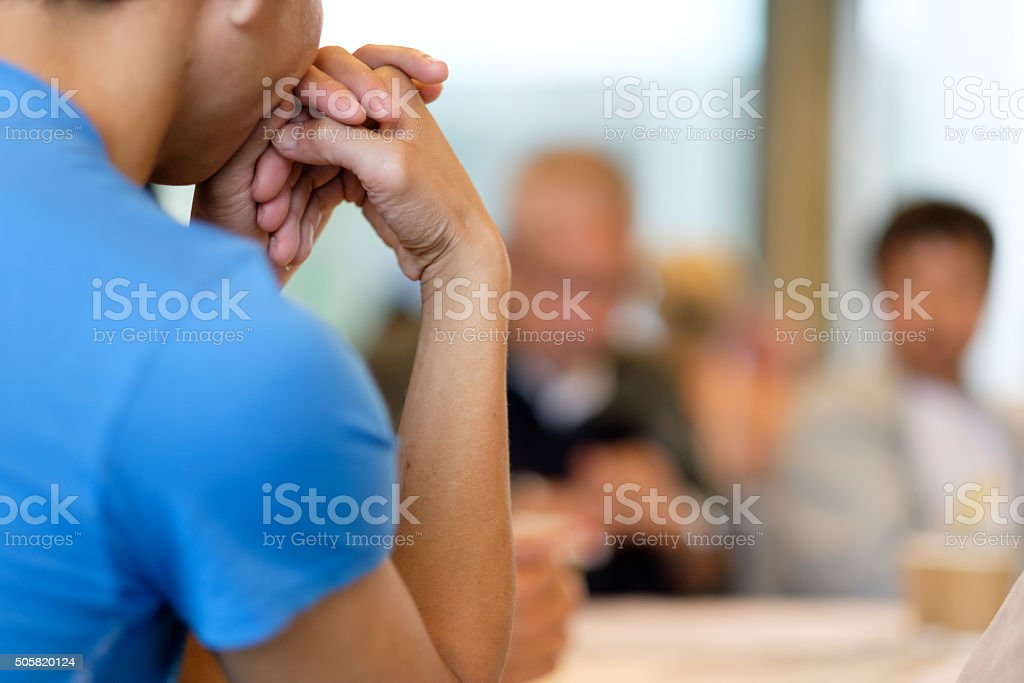 Community meeting background stock photo