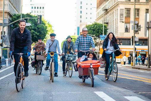 Community Members Riding Together in Car-Free Urban Zone