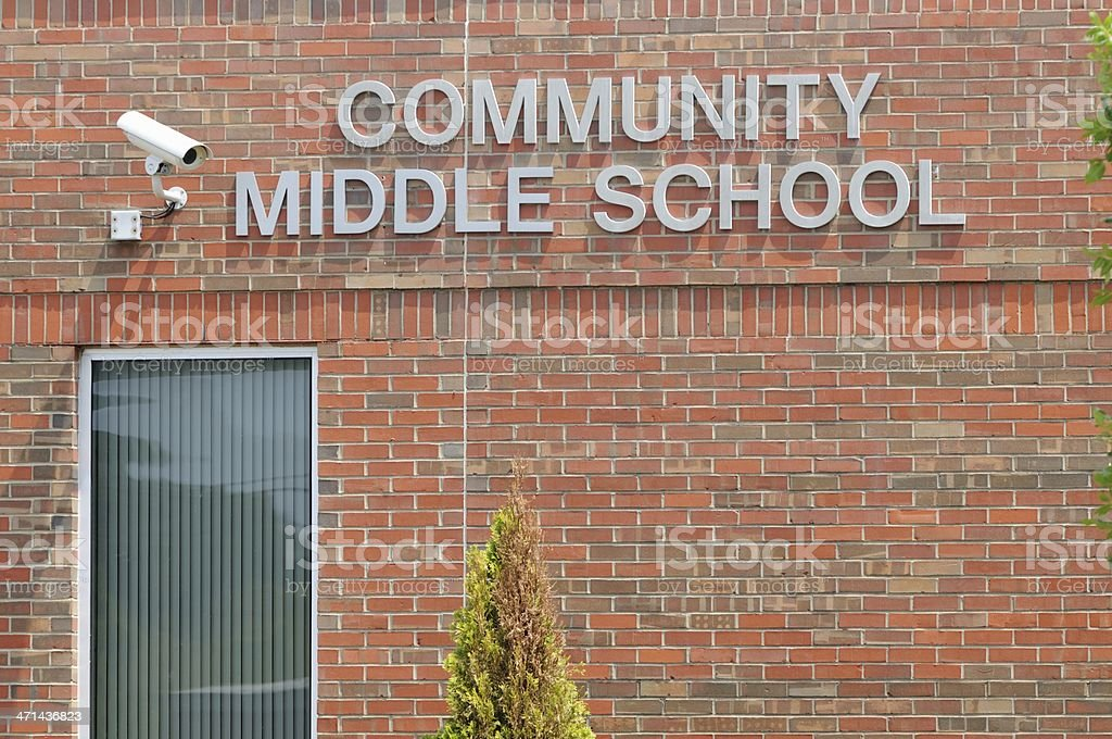 Community middle school sign stock photo