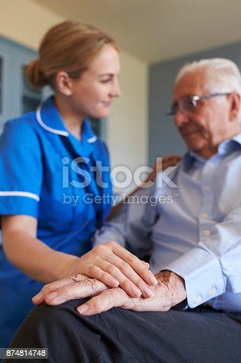istock Community Nurse Visits Senior Man Suffering With Depression 874814748