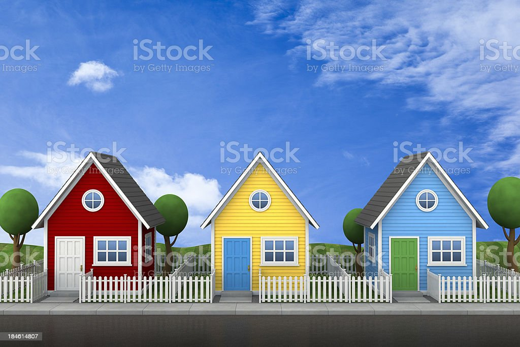 Community of small houses stock photo
