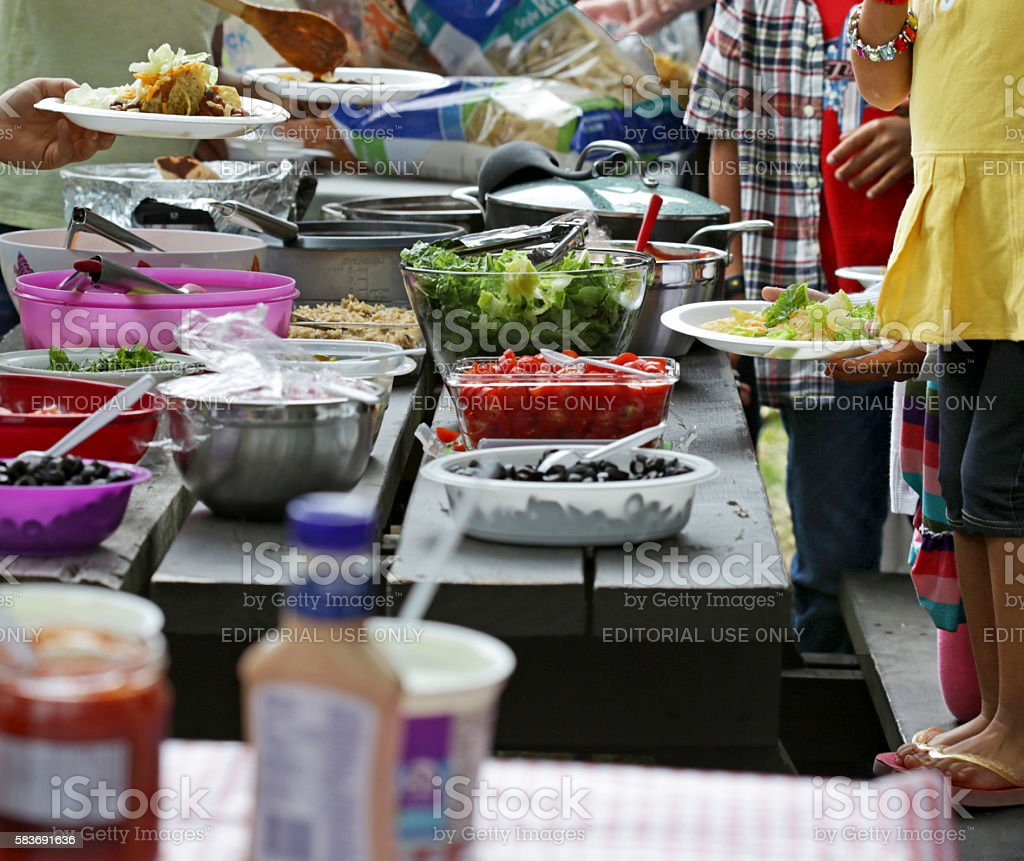 Community Picnic, Summer Afternoon in British Columbia, Canada stock photo