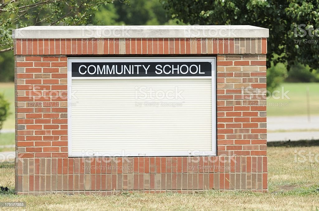 Community school marquee sign stock photo