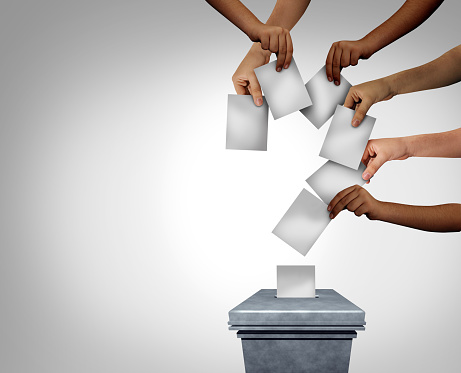Community vote question mark and voting questions concept as diverse multicultural hands holding blank papers casting ballots at a polling station as voter confusion with 3D illustration elements.