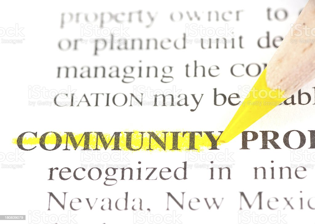 community word defintion marked yellow in dictionary stock photo