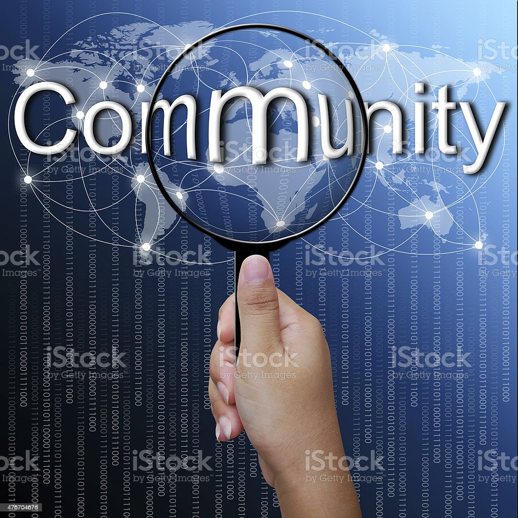 Community, word in Magnifying glass,network background royalty-free stock photo