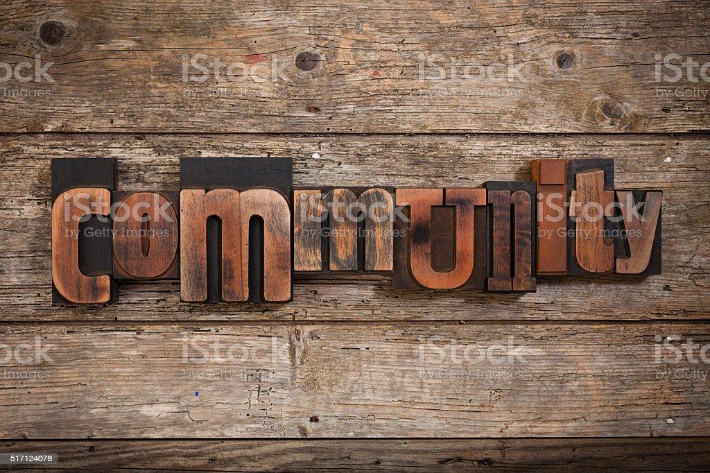community written with letterpress type stock photo