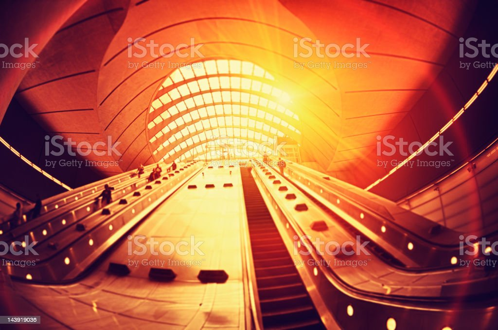 Commuter going to work at Canary Wharf Station - London royalty-free stock photo