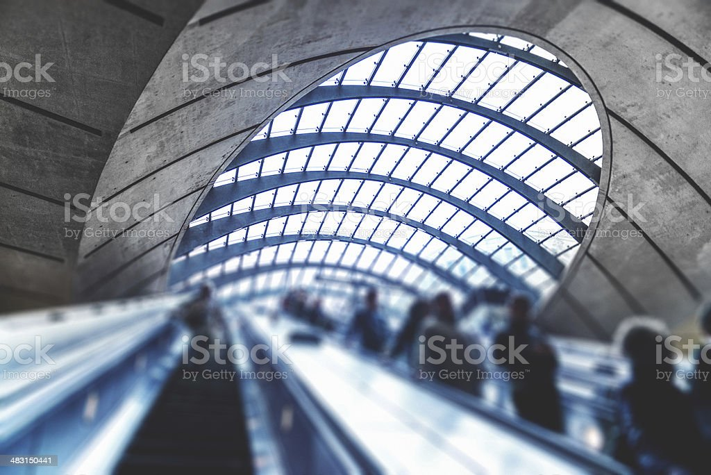 Commuter going to work at Canary Wharf Station - London stock photo