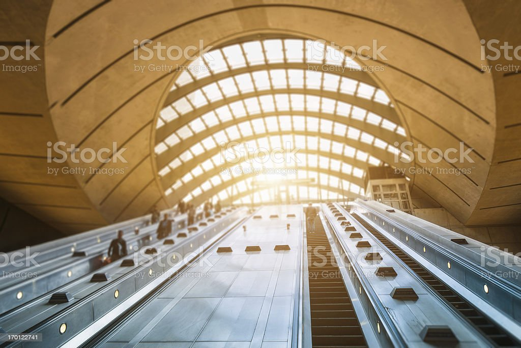 Commuter going to work at Canary Wharf Station stock photo