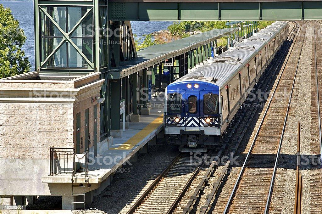 Commuter railroad train at station, Bronx, New York City stock photo