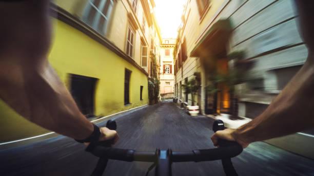 POV-Pendler Road Racing Fahrrad in der Stadt – Foto