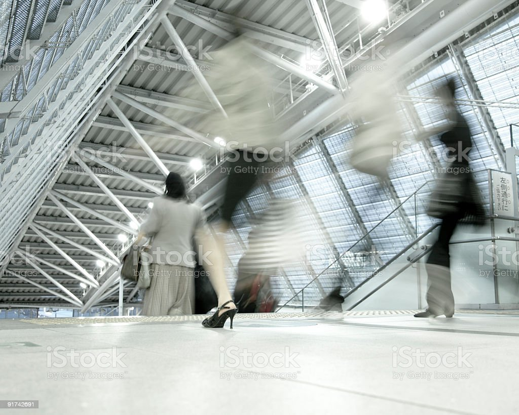 commuter station rush royalty-free stock photo