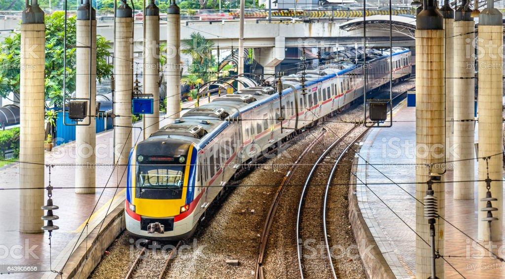 Commuter train at Kuala Lumpur station, Malaysia stock photo