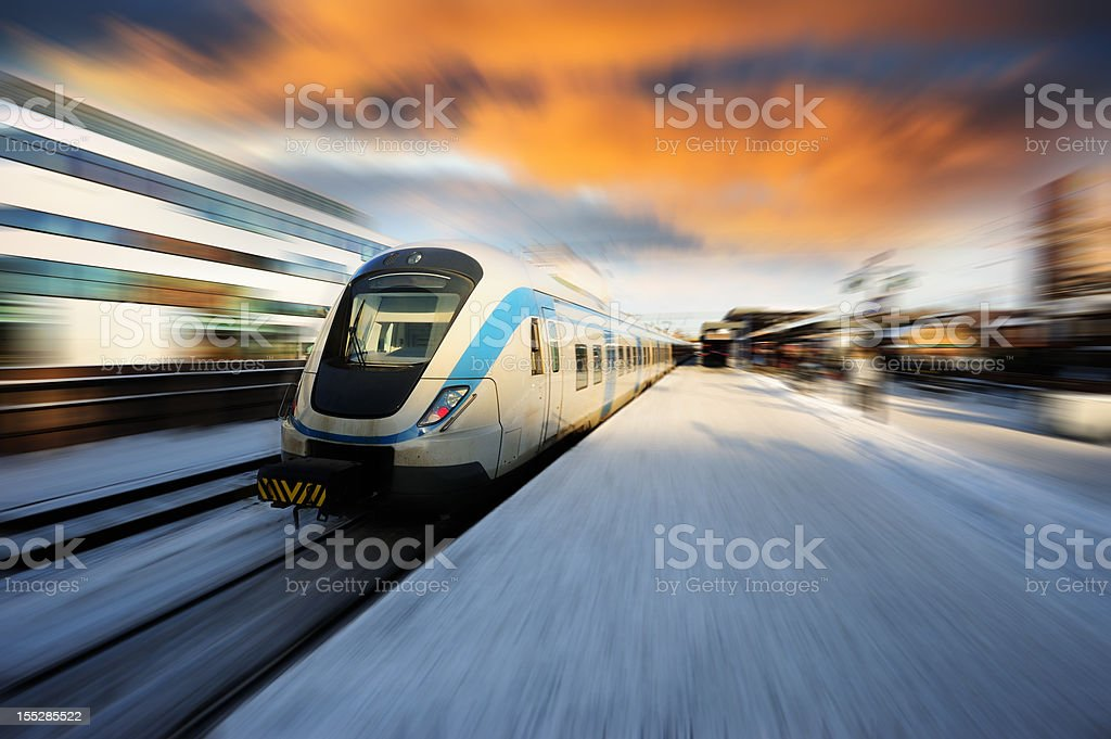 Commuter train, dramatic sky stock photo