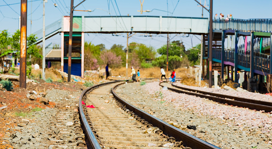 Soweto, South Africa - September 08 2018: Commuter Train line in the heart of Soweto, Johannesburg
