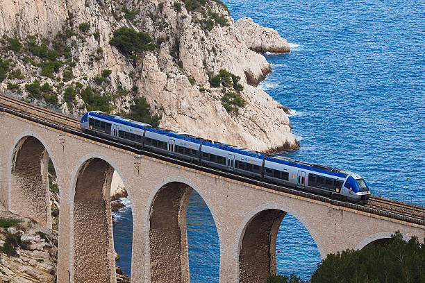 TER Commuter train on viaduct stock photo
