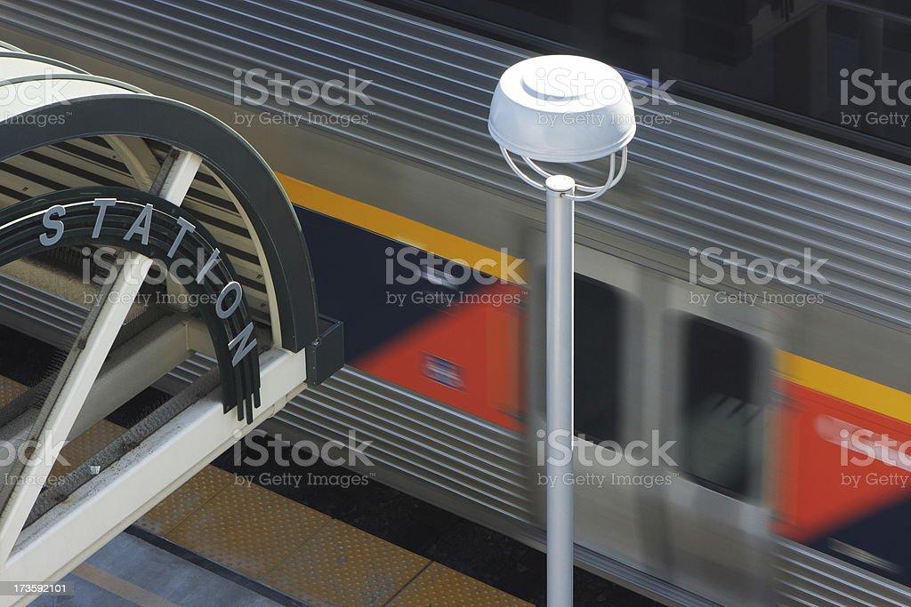 Commuter Train Railway Transit Station stock photo