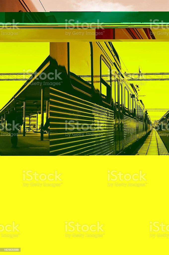 Commuter train sunset royalty-free stock photo