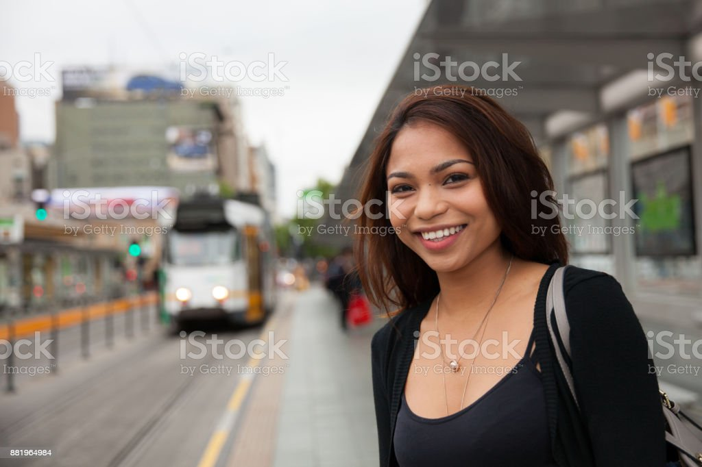 Commuter Waiting for the Tram stock photo