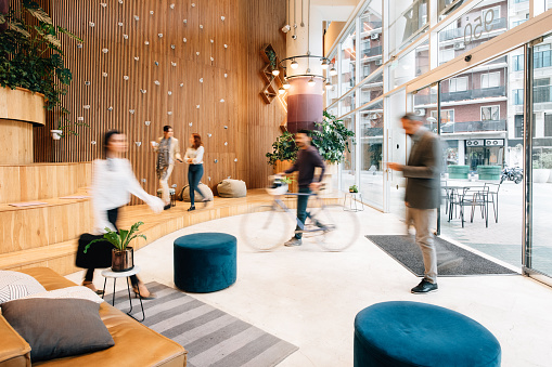 Commuters arriving to office lobby