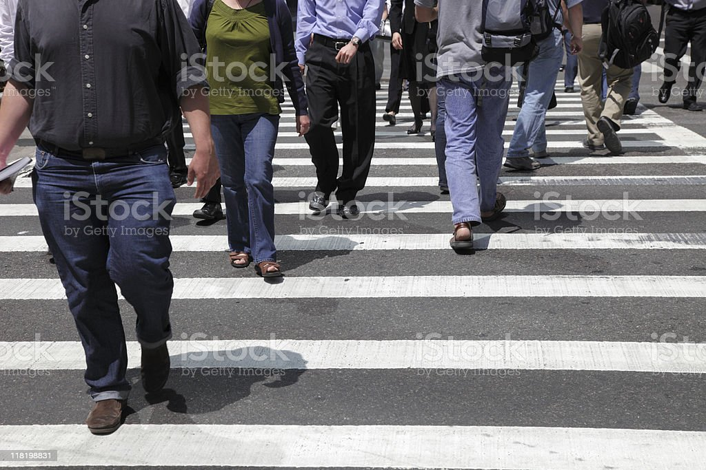 commuters at a crosswalk in nyc royalty-free stock photo