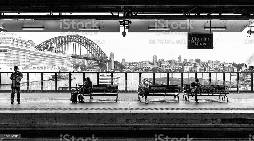 Commuters at Circular Quay on Sydney Harbour stock photo
