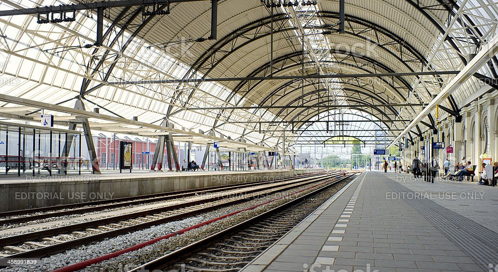 commuters at railroad station in Zwolle Netherlands royalty-free stock photo