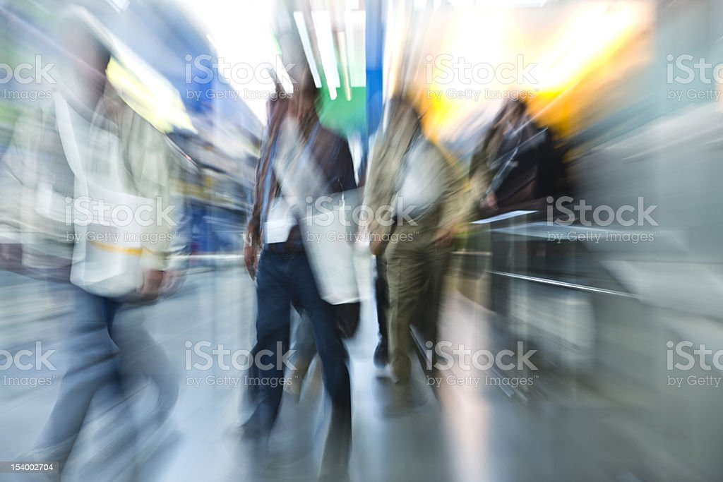 Commuters at Rush Hour, Zoom and Motion Blur royalty-free stock photo