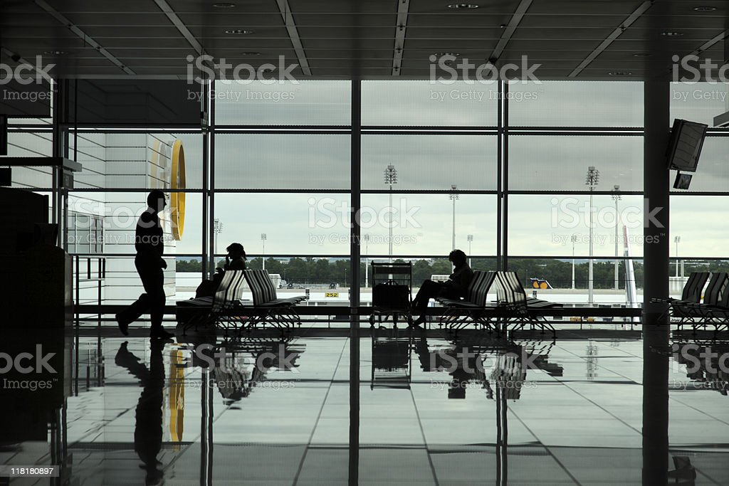 commuters at the airport royalty-free stock photo