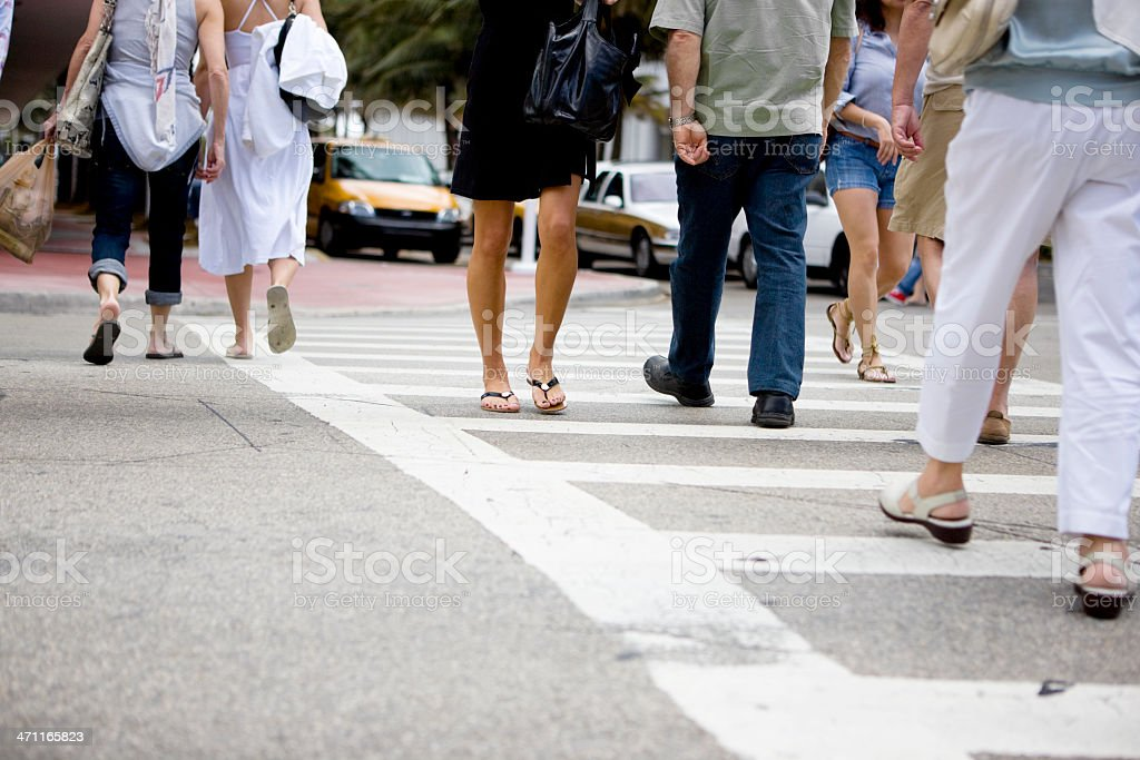 Commuters crossing street royalty-free stock photo