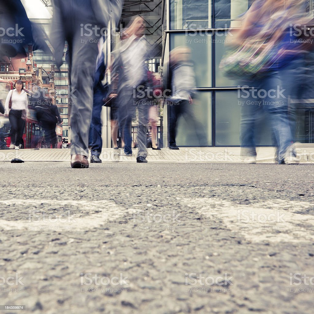 Commuters Crossing the Road in London royalty-free stock photo
