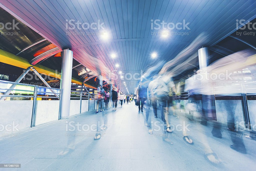 Commuters Crowd Walking at Rush Hour royalty-free stock photo